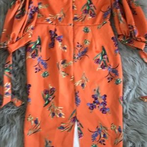 Orange floral midi dress, UK16 =US14
